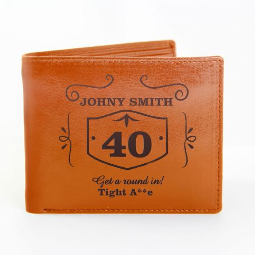 Personalised Classic Whisky Tan Leather Wallet